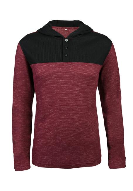 Men's Henley Hoodie Shirt, BURGUNDY, hi-res