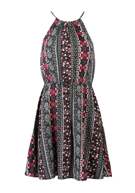 Ladies' Pleat Neck Dress, MULTI, hi-res