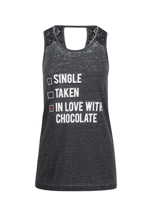 Ladies' In Love With Chocolate Tank, BLACK, hi-res