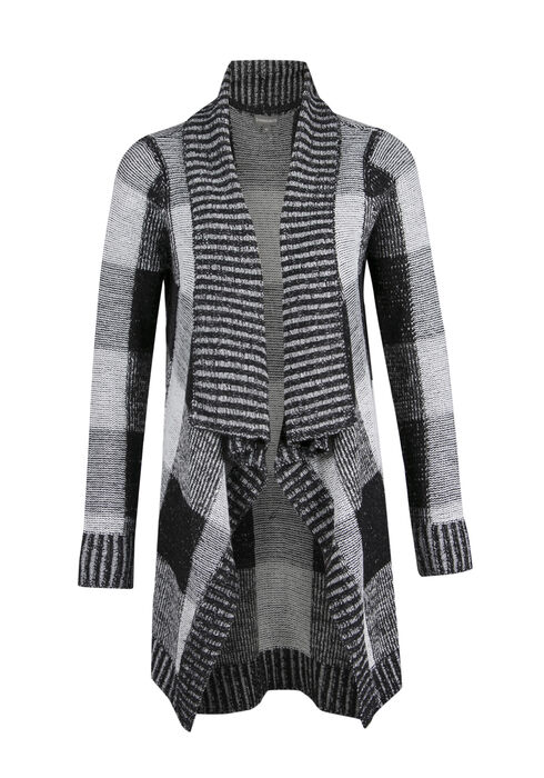 Ladies' Plaid Open Cardigan, BLK/WHT, hi-res