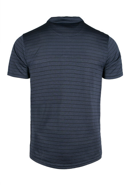 Men's Athletic Striped Polo, Blue, hi-res