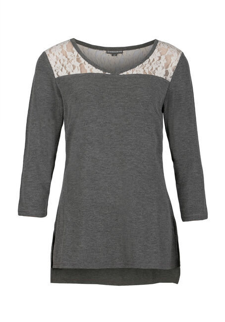 Ladies' Lace Insert Tee, CHARCOAL/IVORY, hi-res