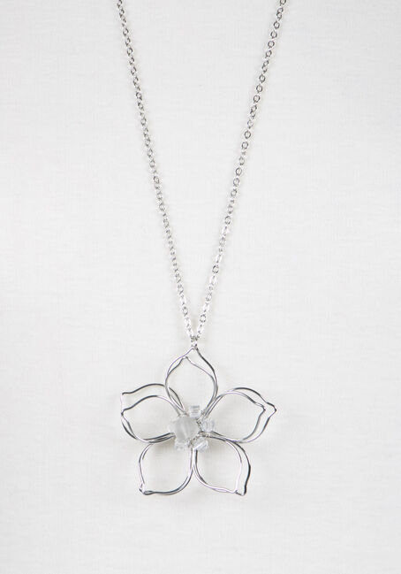 Ladies' Daisy Pendant Necklace, RHODIUM, hi-res