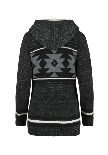 Ladies' Nordic Zip Cardigan, CHARCOAL, hi-res