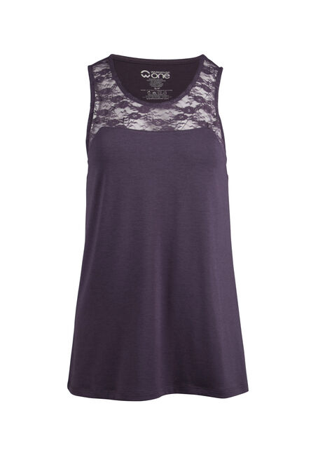 Ladies' Lace Yoke Tank, SHADOW PURPLE, hi-res