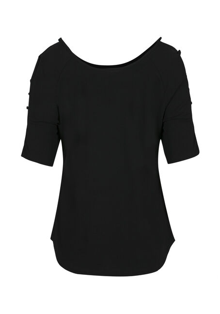 Ladies' Ladder Sleeve Tee, SOLID BLACK, hi-res