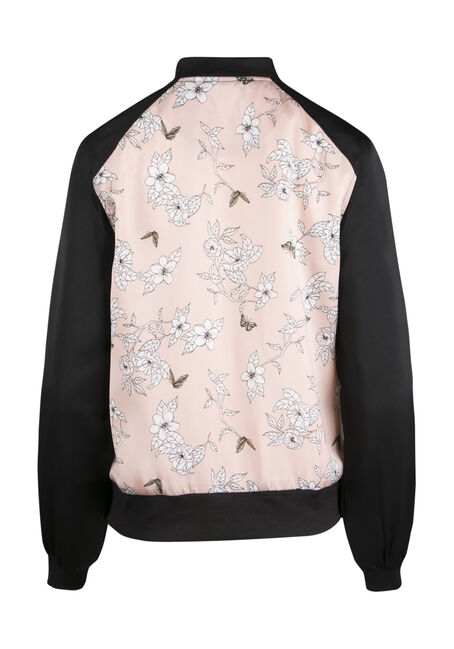 Ladies' Floral Bomber Jacket, MULTI, hi-res