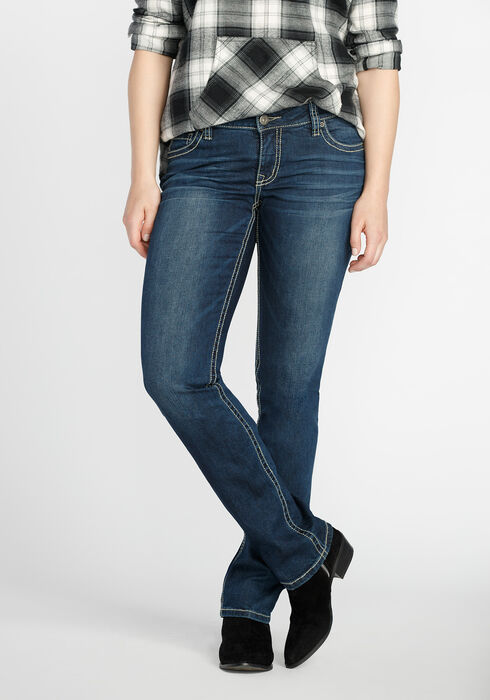 Ladies' Straight Leg Dark Wash Jeans, MEDIUM VINTAGE WASH, hi-res