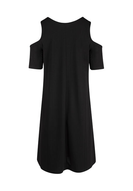 Ladies' Cold Shoulder Dress, BLACK, hi-res