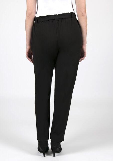 Ladies' Paper Bag Waist Pants, BLACK, hi-res