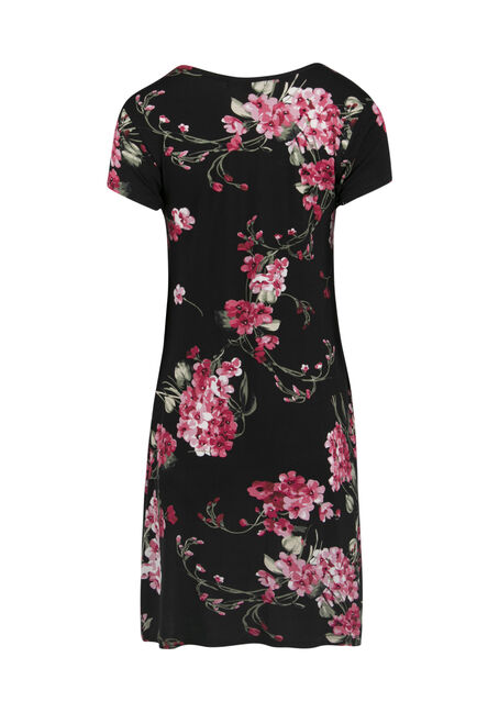 Ladies' Floral A-Line Dress, BLACK PRINT, hi-res