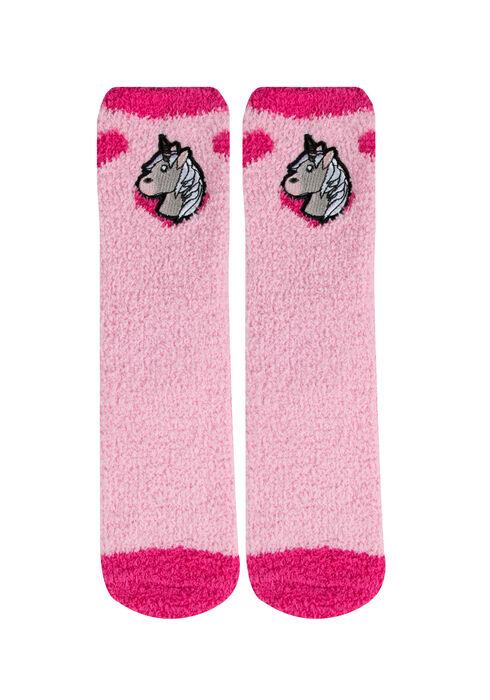 Ladies' Emoji Plush Socks, PINK, hi-res