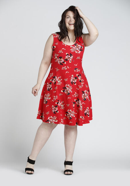 Ladies' Floral FIt & Flair Dress, RED FLORAL, hi-res