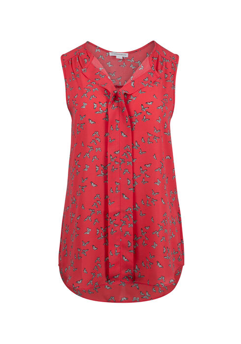 Ladies' Butterfly Pleat Front Tank, CORAL, hi-res