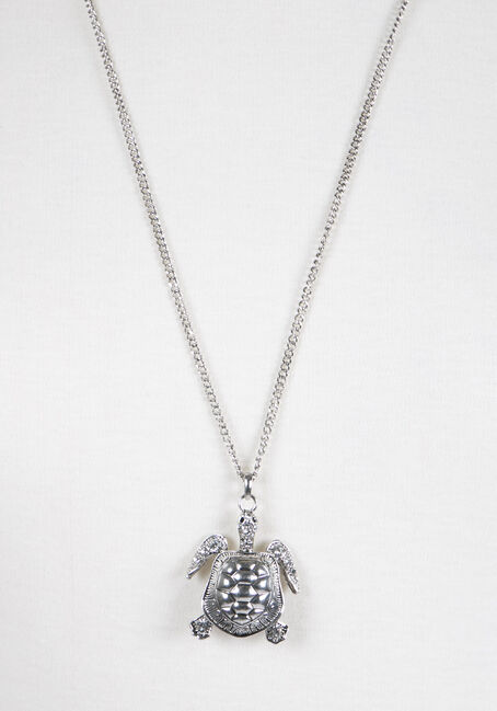Ladies' Turtle Pendant Necklace, SILVER, hi-res
