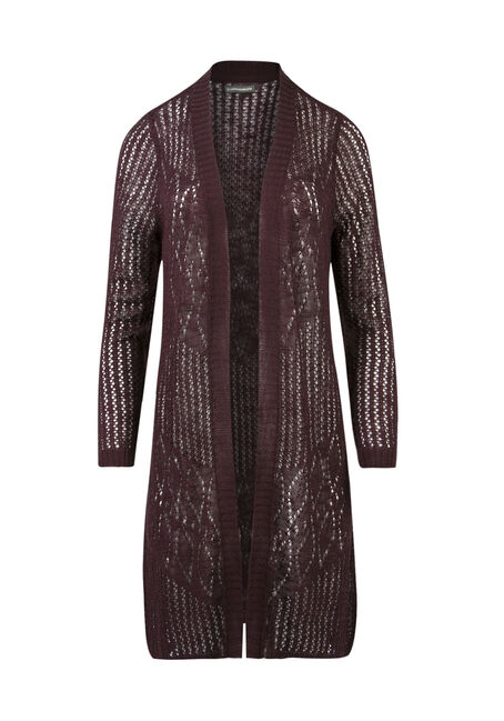 Ladies' Pointelle Open Cardigan, MULBERRY, hi-res