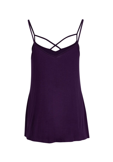 Ladies' Cage Neck Strappy Tank, GRAPE, hi-res