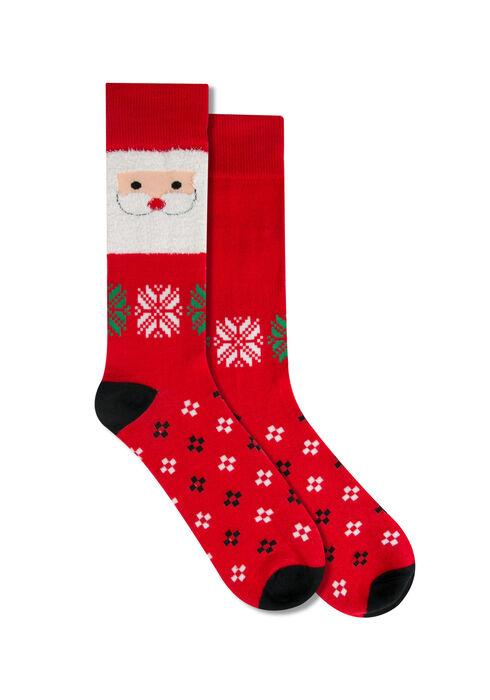 Men's Santa Socks, RED, hi-res