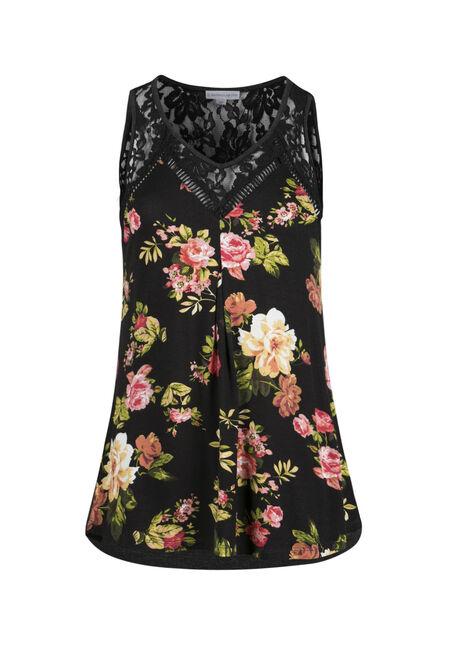 Ladies' Lace Insert Floral Tank