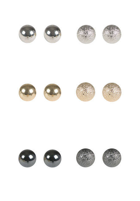 Ladies' 6 Pair Ball Stud Earrings, MIXED METALS, hi-res