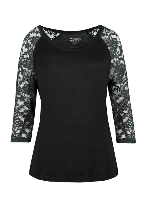 Ladies' Lace Baseball Tee, BLACK/JASPER, hi-res