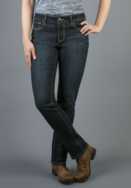 Ladies' Hi-Rise Straight Dark Jeans, DARK VINTAGE WASH, hi-res