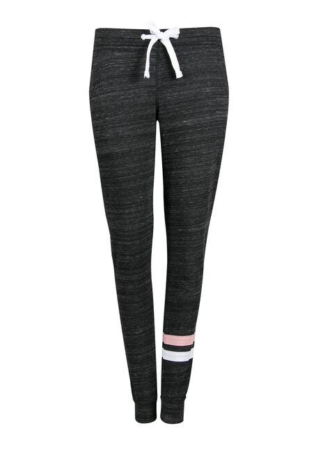 Ladies' Stripe Accent Jogger, MARLED BLACK, hi-res