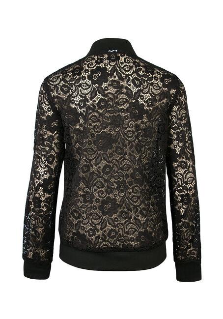 Ladies' Lace Bomber Jacket, BLACK, hi-res