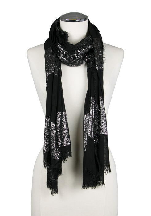Ladies' Shimmer Striped Scarf, BLACK, hi-res