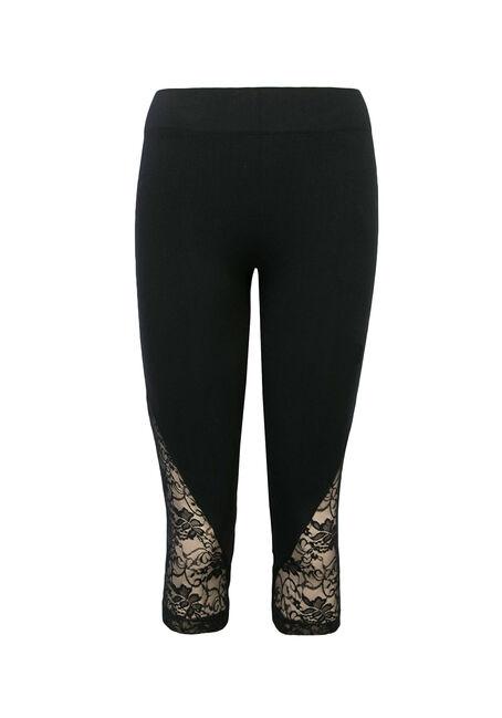 Ladies' Lace Seamless Capri Legging, BLACK, hi-res