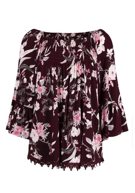 Ladies' Floral Bardot Top