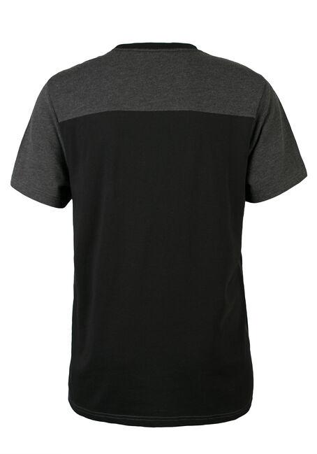 Men's Colour Blocked Graphic Tee, BLACK, hi-res