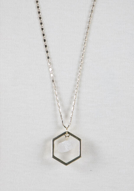 Ladies' Octagon Rock Necklace, GOLD, hi-res