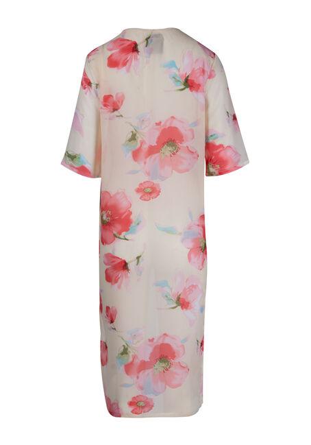 Ladies' Floral Kimono Duster, WHITE, hi-res