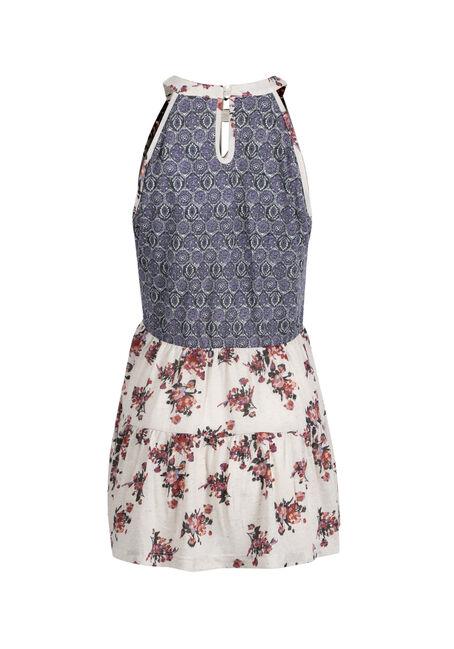 Ladies' Floral Mock Neck Tank, OATMEAL, hi-res