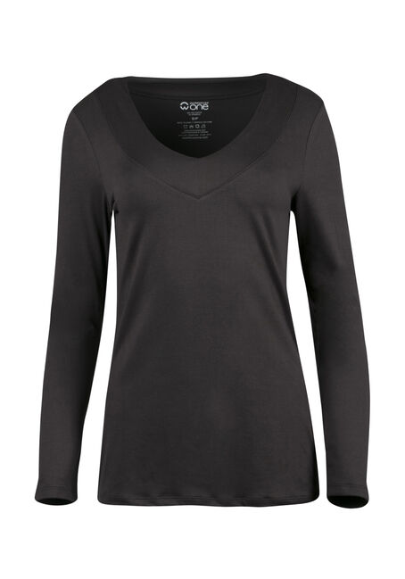 Ladies' V-Neck Tee, BLACK, hi-res