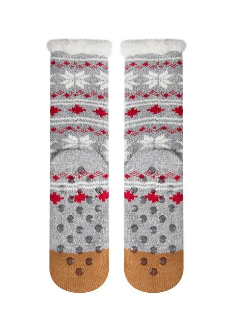 Ladies'  Reindeer Slipper Socks, BROWN, hi-res