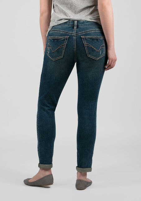Ladies' Girlfriend Jeans, DARK VINTAGE WASH, hi-res