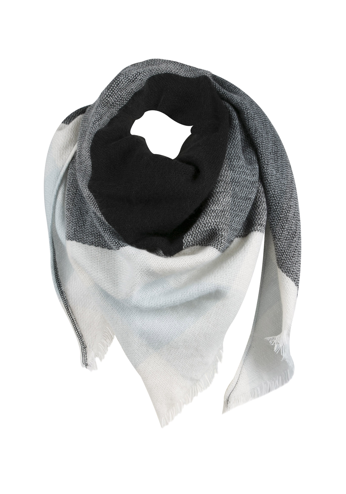 Ladies' Blanket Scarf, BLACK, hi-res