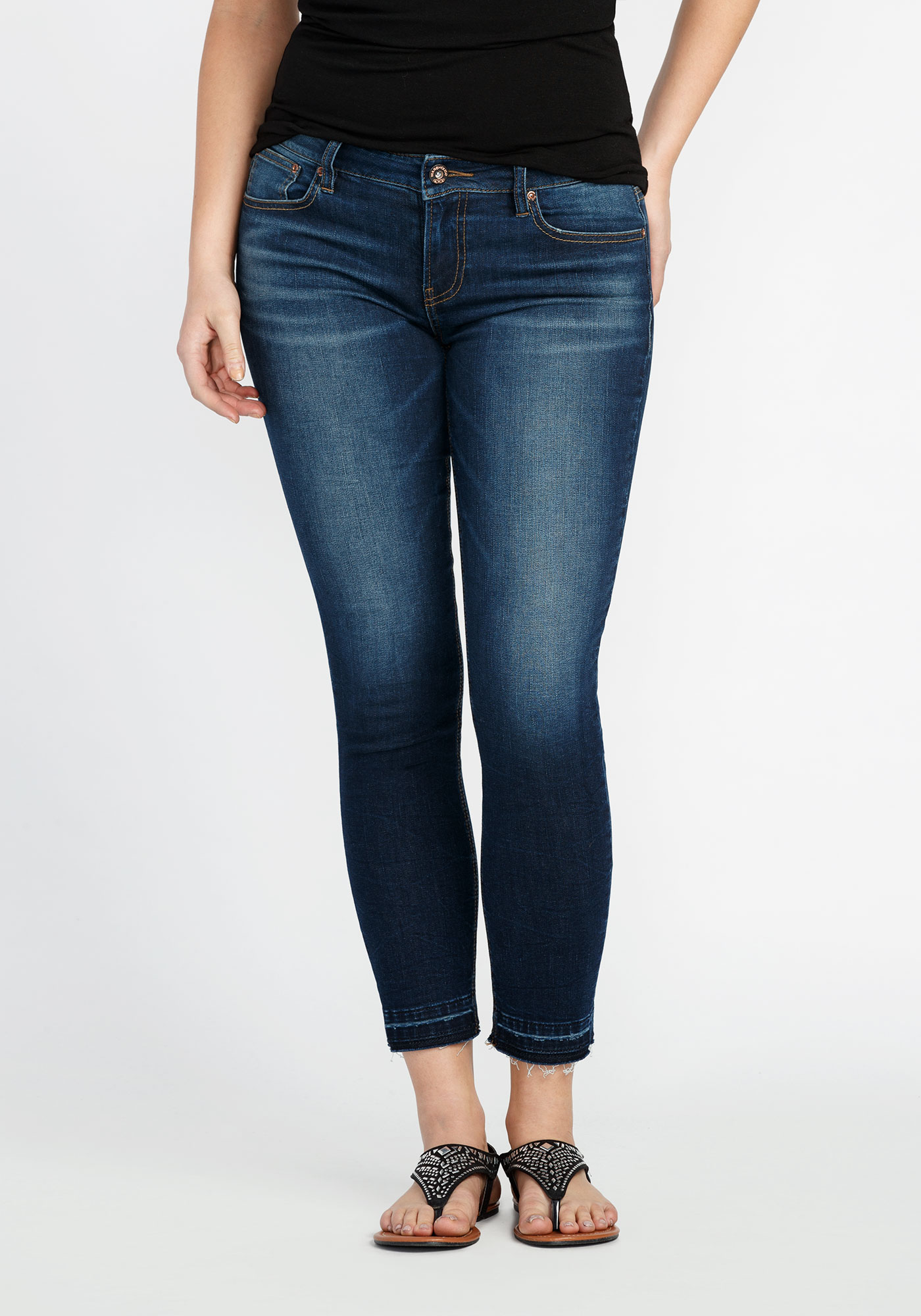 Ladies' Skinny Released Hem Crop, DARK VINTAGE WASH, hi-res