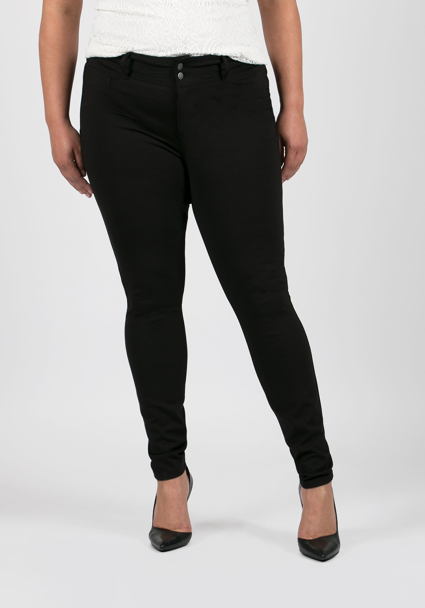 Ladies' Plus Size Skinny Pants, BLACK, hi-res