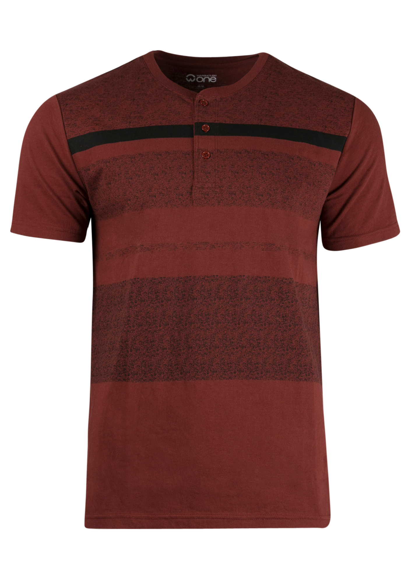 Men's Stripe Henley Tee, CHILI, hi-res