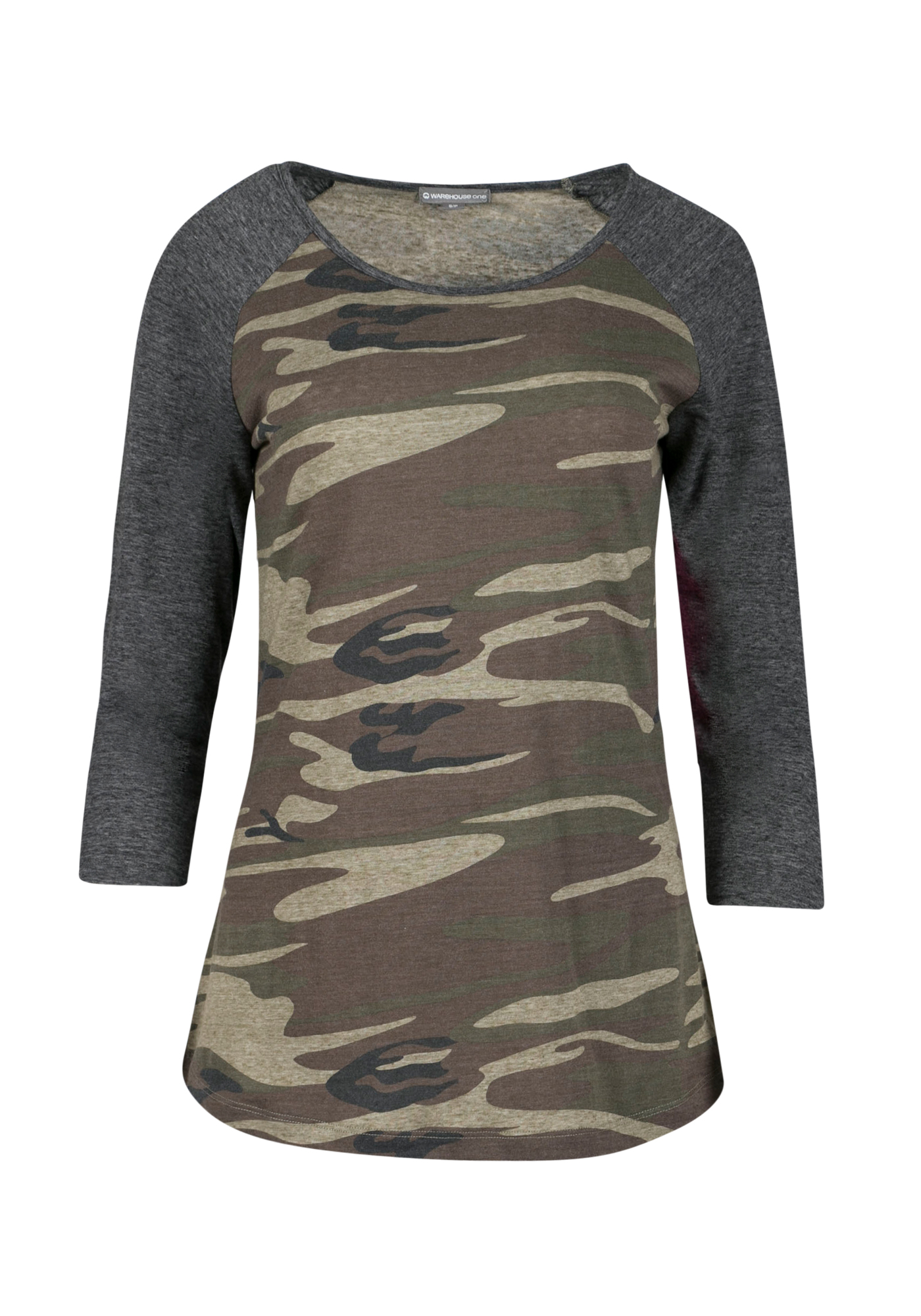Ladies' Camo Baseball Tee, OLIVE, hi-res