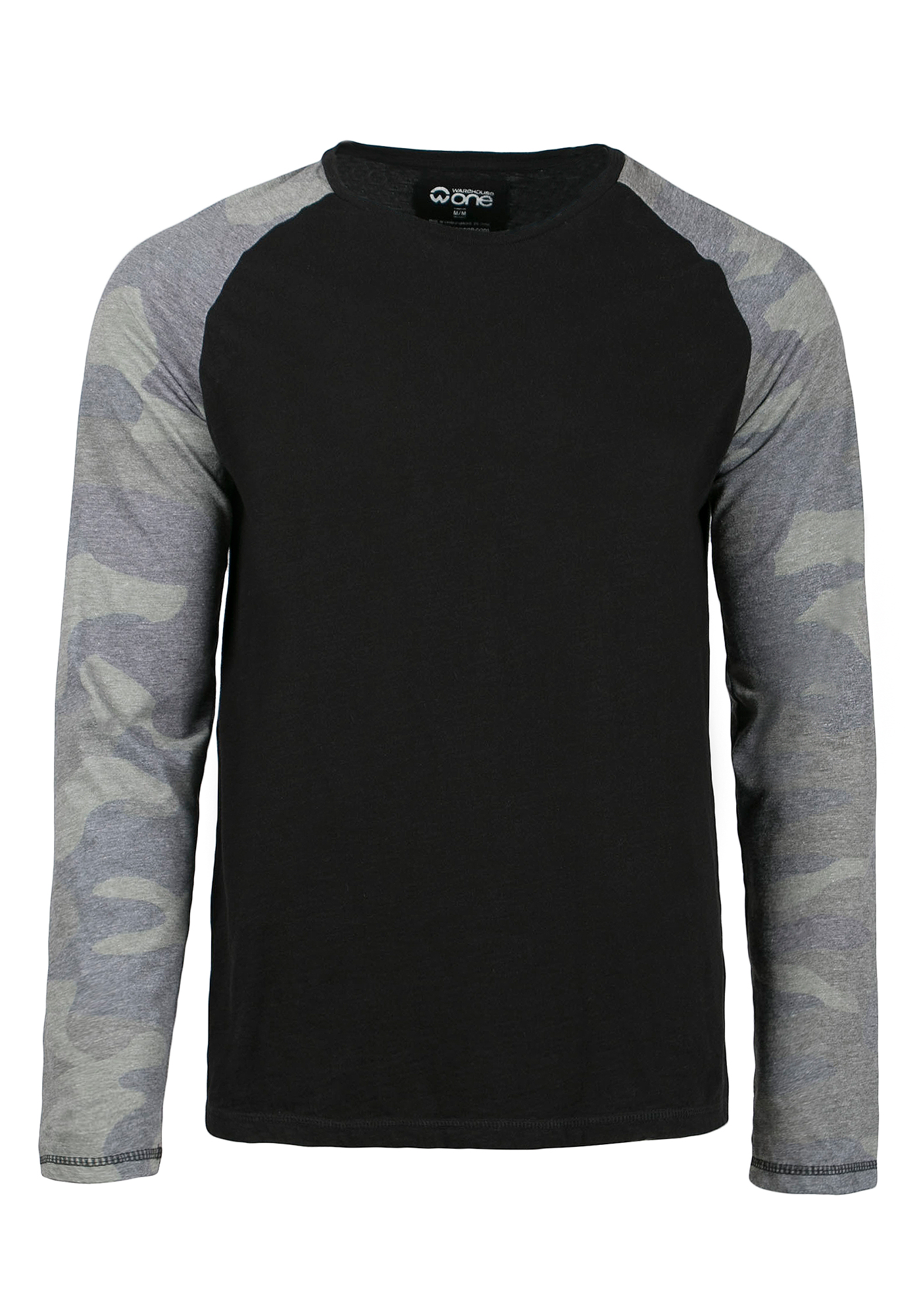 Men's Camo Baseball Tee, BLACK, hi-res