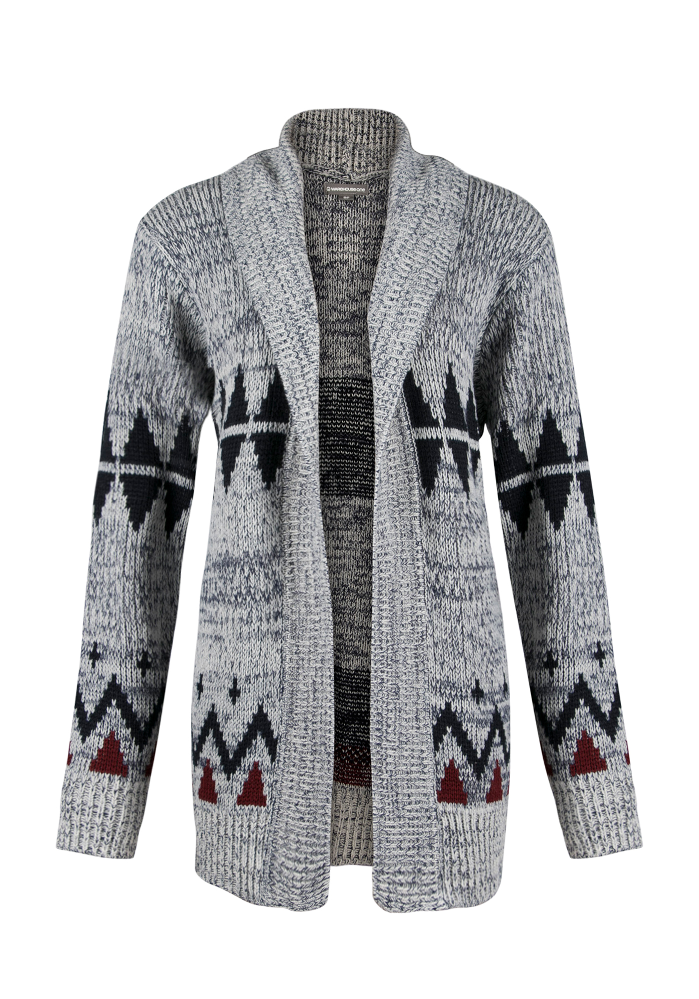 Ladies' Diamond Open Cardigan, MOONLIGHT BLUE/IVORY, hi-res