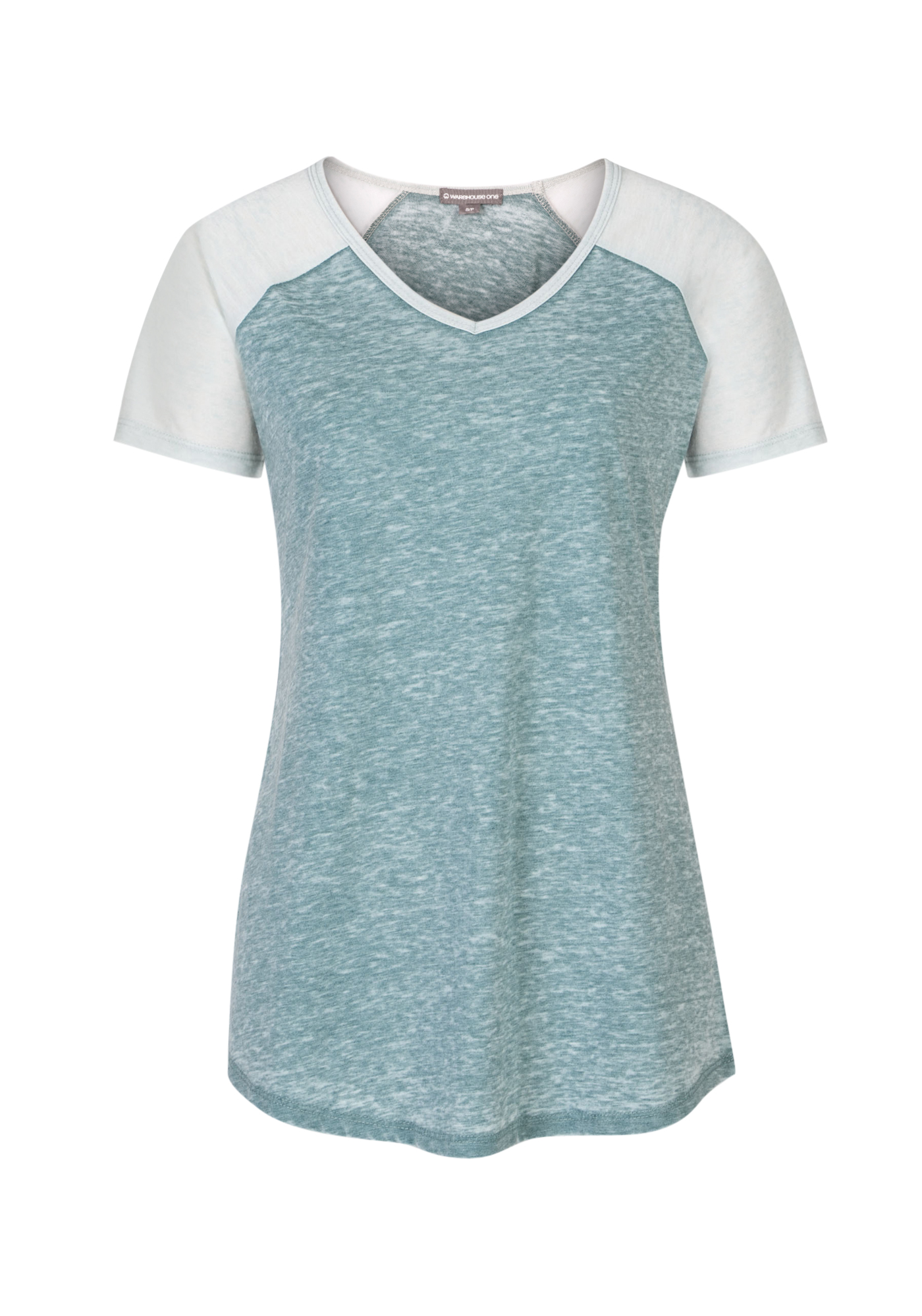 Ladies' Burnout Baseball Tee, JUNIPER/MORNING MIST, hi-res