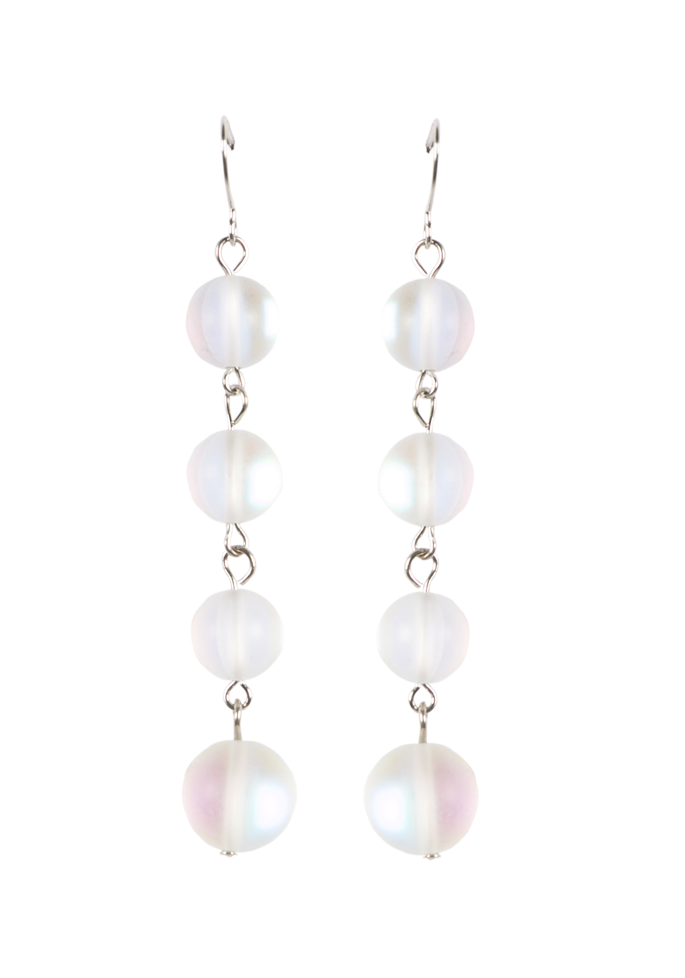 Ladies' Linked Bead Earrings, WHITE, hi-res