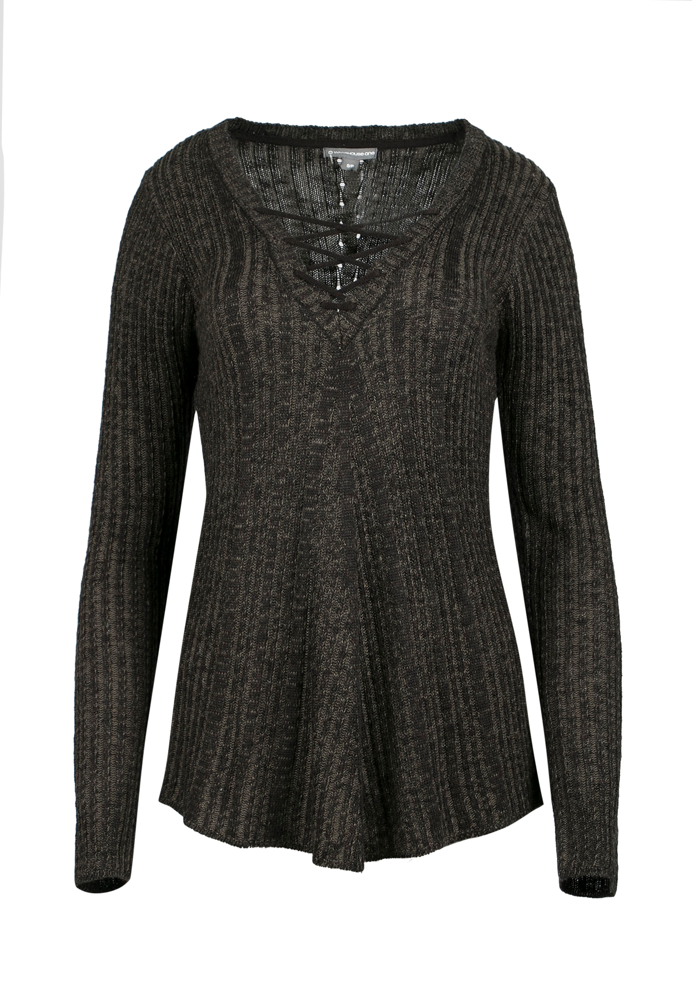 Ladies' Lace Up Sweater, MILITARY/BLACK, hi-res