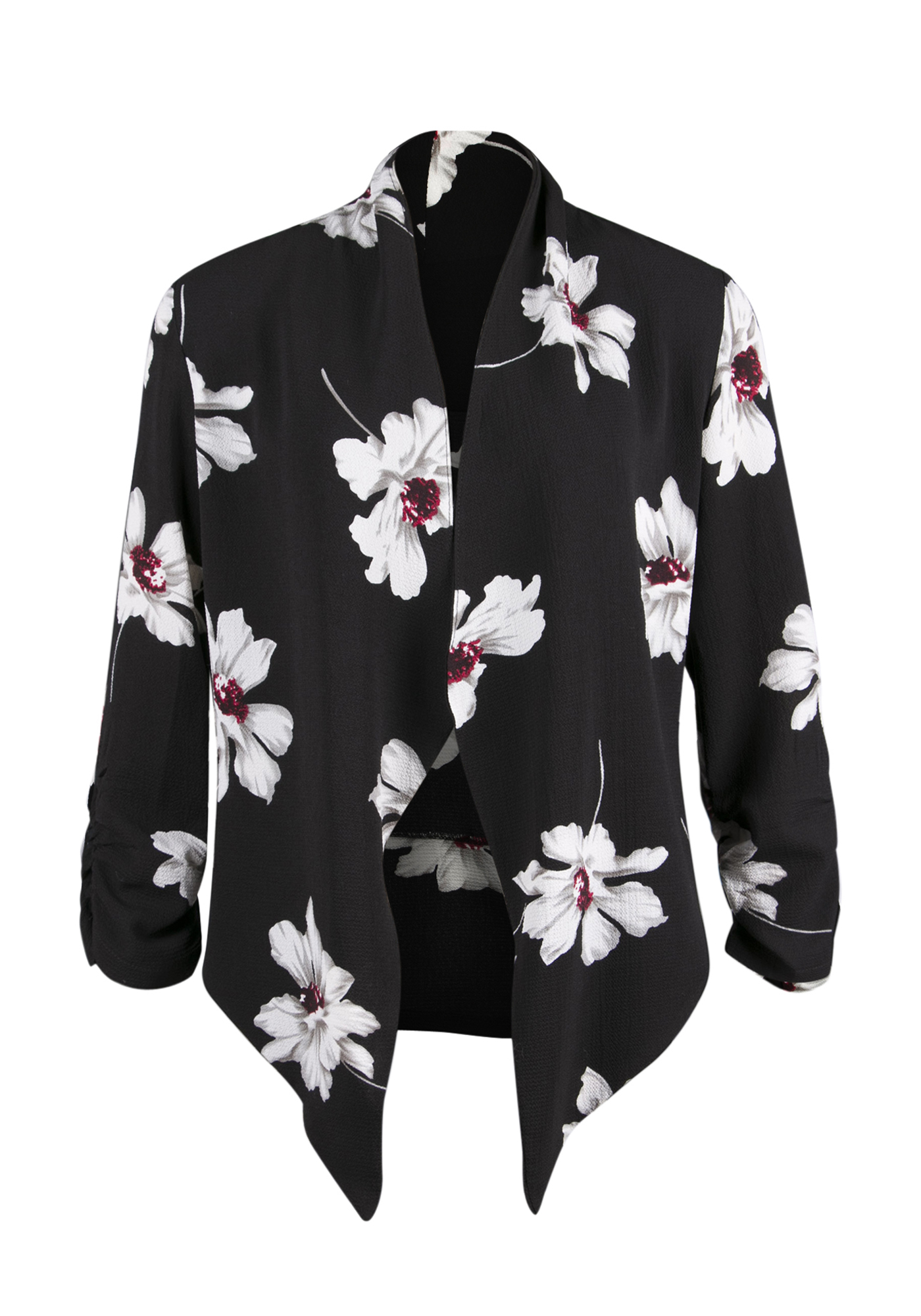 Ladies' Floral Open Blazer, BLACK, hi-res