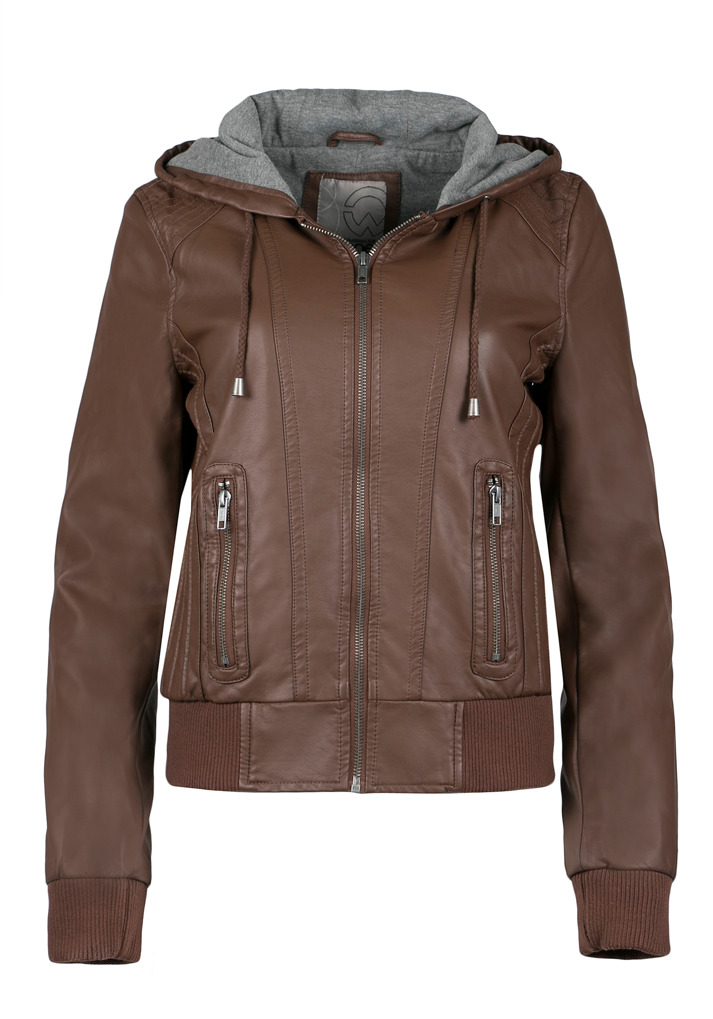 Ladies' Hooded Bomber Jacket, BROWN, hi-res